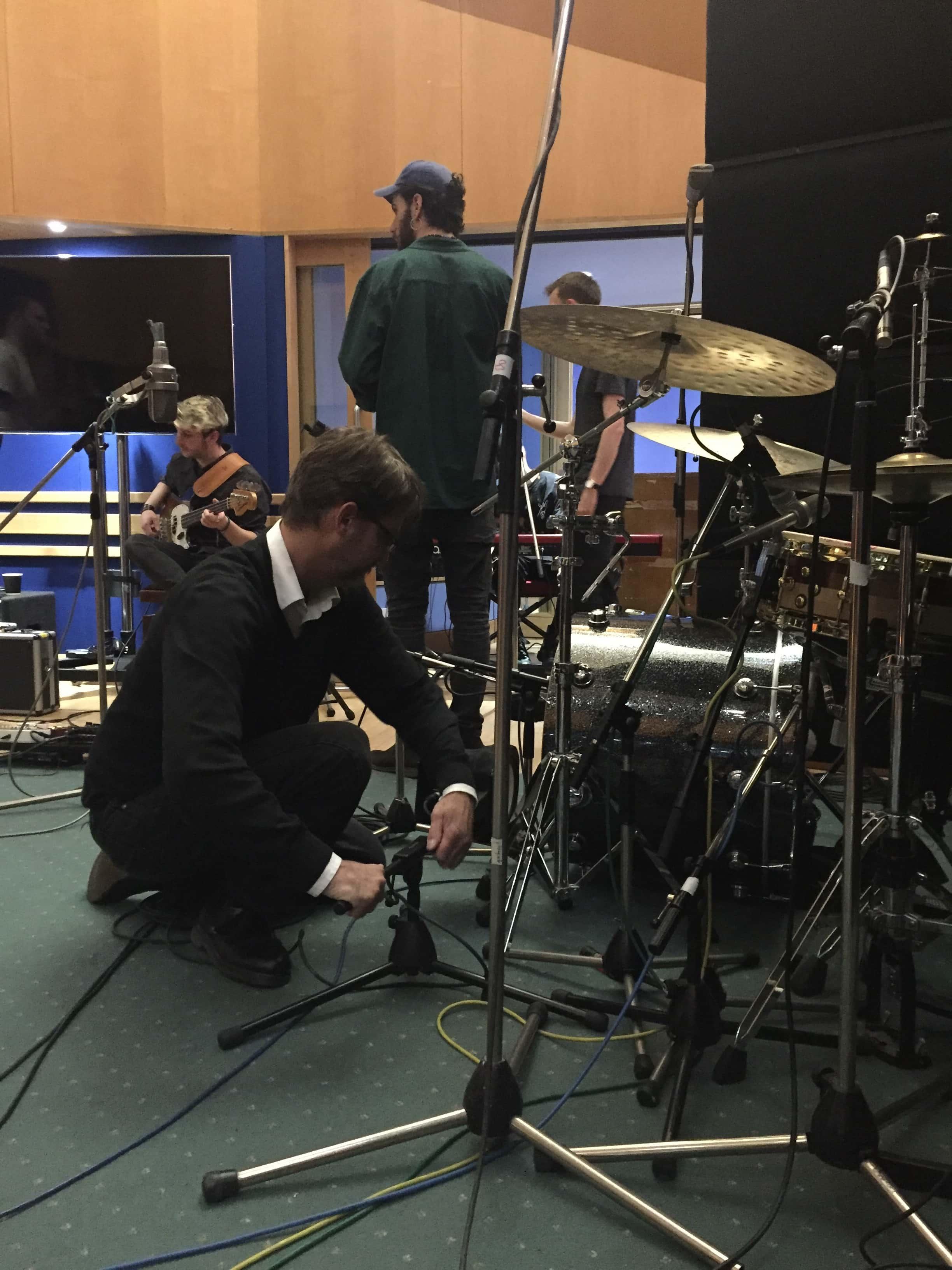 Carlos Lellis setting up the studio