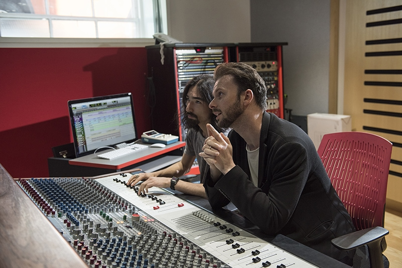 Andrew Glen and Noah Dayan in Abbey Road Institute Studio Control Room