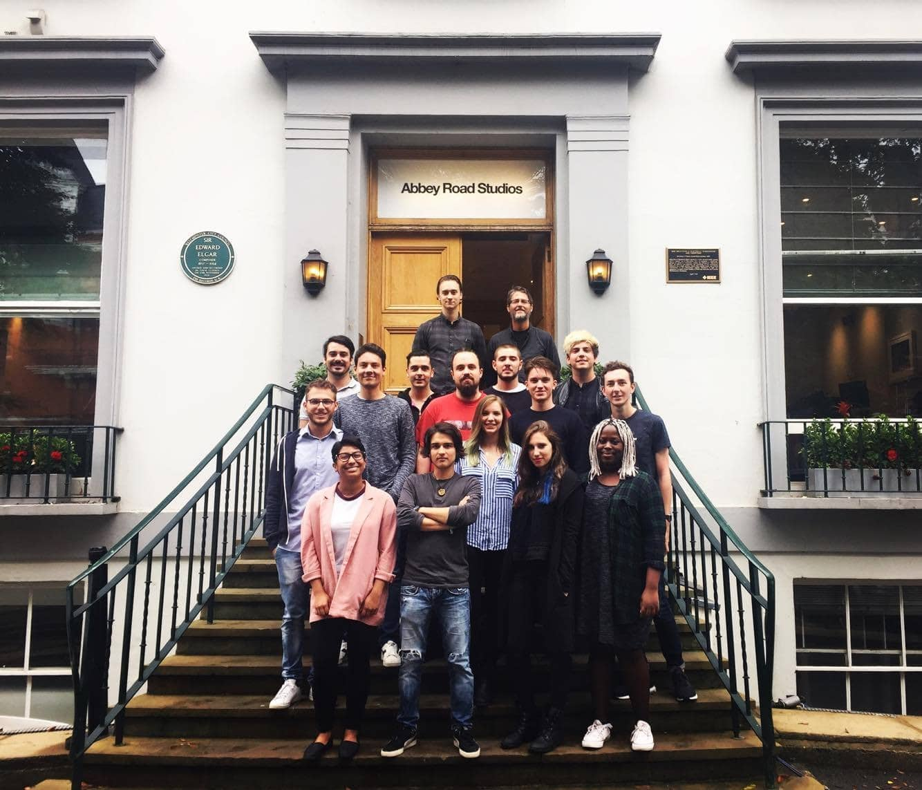 Our new students in front of Abbey Road Studios