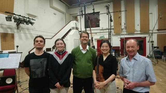 Lizzie working as assistant producer/engineer alongside Stefano - assistant engineer at Abbey Road Studios, Carlos Lellis, violinist LIsa Ueda and John Dunkerley (ex-Decca/grammy winning engineer).